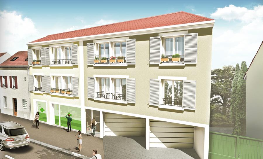 Réalisation de l'immeuble les Dorines par le cabinet Gauthier architecture à Saint Leu la Forêt