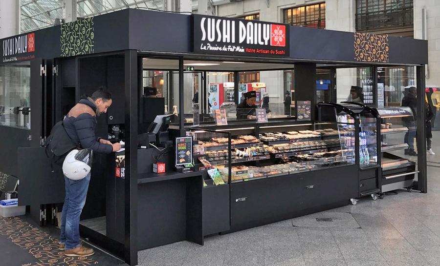Création d'un kiosk sushi daily par l'architecte Christophe Gauthier